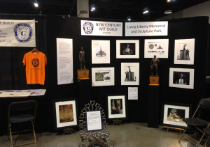 NCAG's Booth displaying the Living Liberty  Memorial concept sketches and maquettes