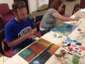 Air Force Veteran Chris Potratz relaxing while painting