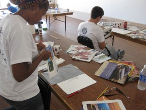 UNO Veteran Student Organization collage/drawing workshop