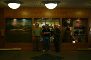 Billy Marples (center) with art display at the Omaha VA hopspital