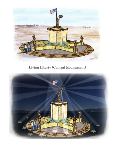 Concept sketch of central monument in day and at night.