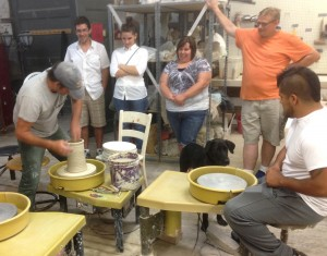 Veterans work in clay at a V4V Creative Workshop last summer.