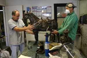 Bronze artist Les Bruning and Mike Godek