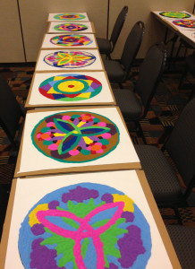 "The colorful ""gallery"" of finished sand mandalas"