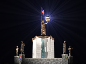 Living Liberty Central Monument --at night (from ground level)