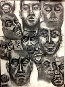 Kyle Foster -Many Faces of PTSD, Charcoal 2015